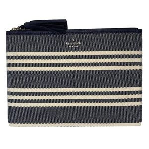 KATE SPADE Navy & Cream Striped Fabric Clutch